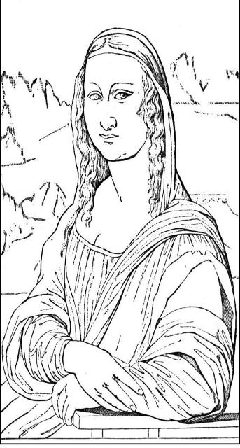 Cartoon mona lisa coloring pages for Mona lisa coloring pages